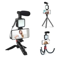 Condenser Microphone DSLR SLR Phone Vlog Tripod Phone Holder For GoPro Camera YouTube with Remote Control Microphone LED Light