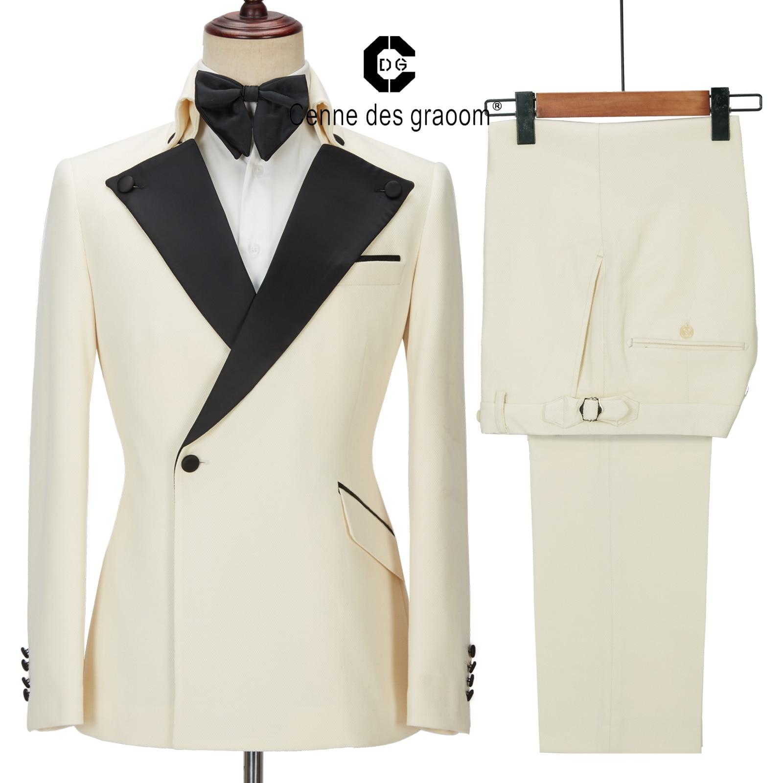 Cenne ديس Graoom أحدث معطف تصميم الرجال الدعاوى مصممة خصيصا سهرة 2 قطعة الحلل الزفاف حزب المغني العريس زي أوم البيج