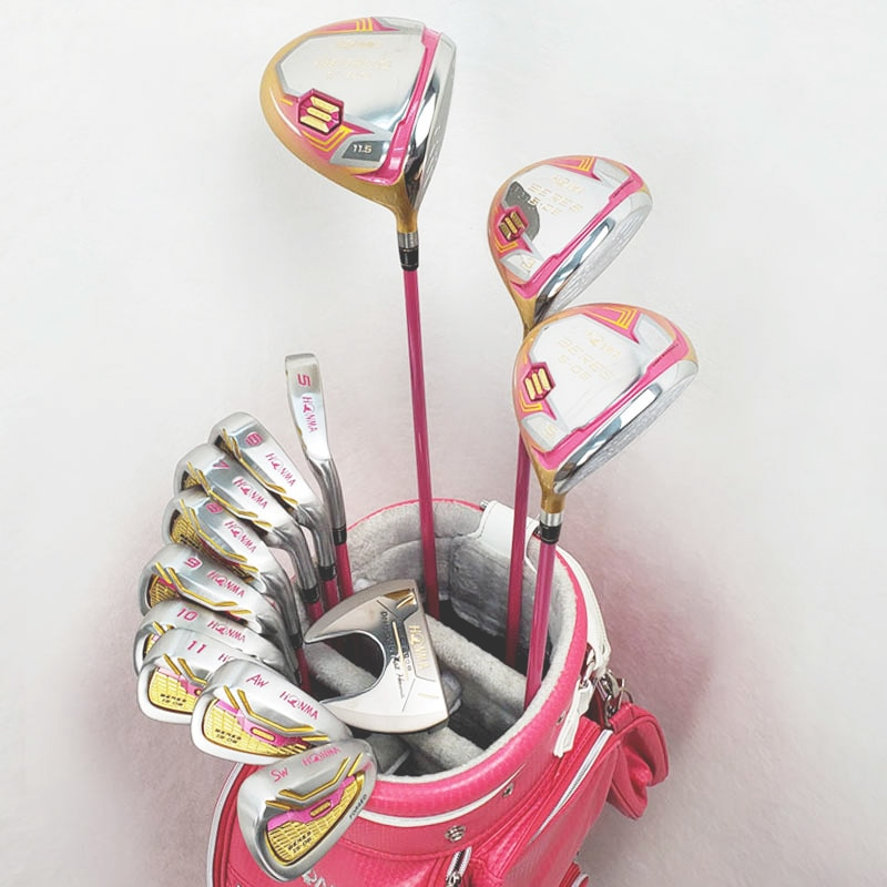 Golf Club Set Rod HONMA S-06 Women's Golf Club Set 3 Wood 9 Iron 1 Push Set With Ball Head Protective Cover
