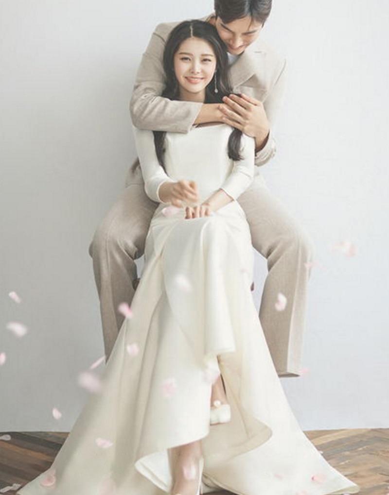 Vestido De Novia De manga larga satinada estilo coreano, nuevo diseño, cuello...