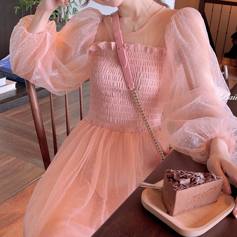 French Fairy Vintage Dress 2021 Summer Women Long Sleeve Sweet Korean Style Dress Lace Japan Style Kawaii Elegant Vestidos 2021