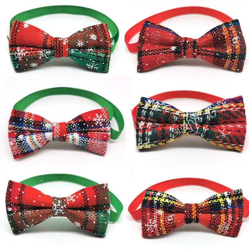 New 30/50pcs Christmas Dog Bows Dog Collar Pet Dog BowTies Dog Christmas Accessories Pet Supplies Small Dog Bowties
