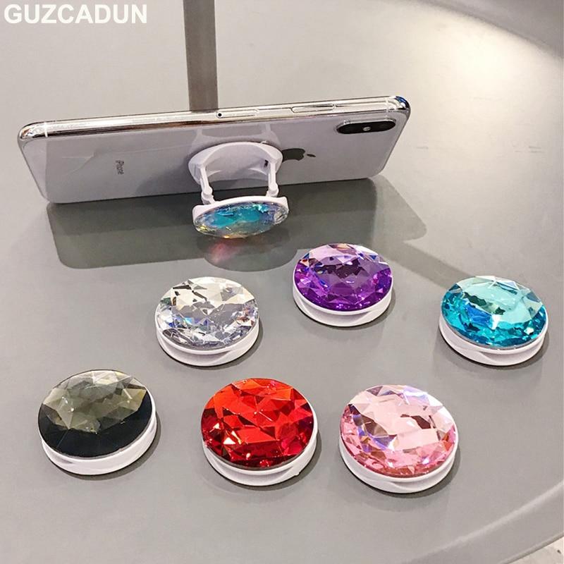 Soporte de agarre para teléfonos plegables en 3D con brillantes para IPhone X XS MAX XR 8 7 6 6s Plus soporte Universal para teléfonos móviles