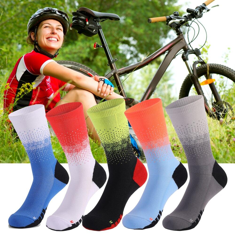 Calcetines de ciclismo profesionales para hombre y mujer, calzado para montar en bicicleta de carretera transpirable para deportes al aire libre, calcetines para correr y fútbol