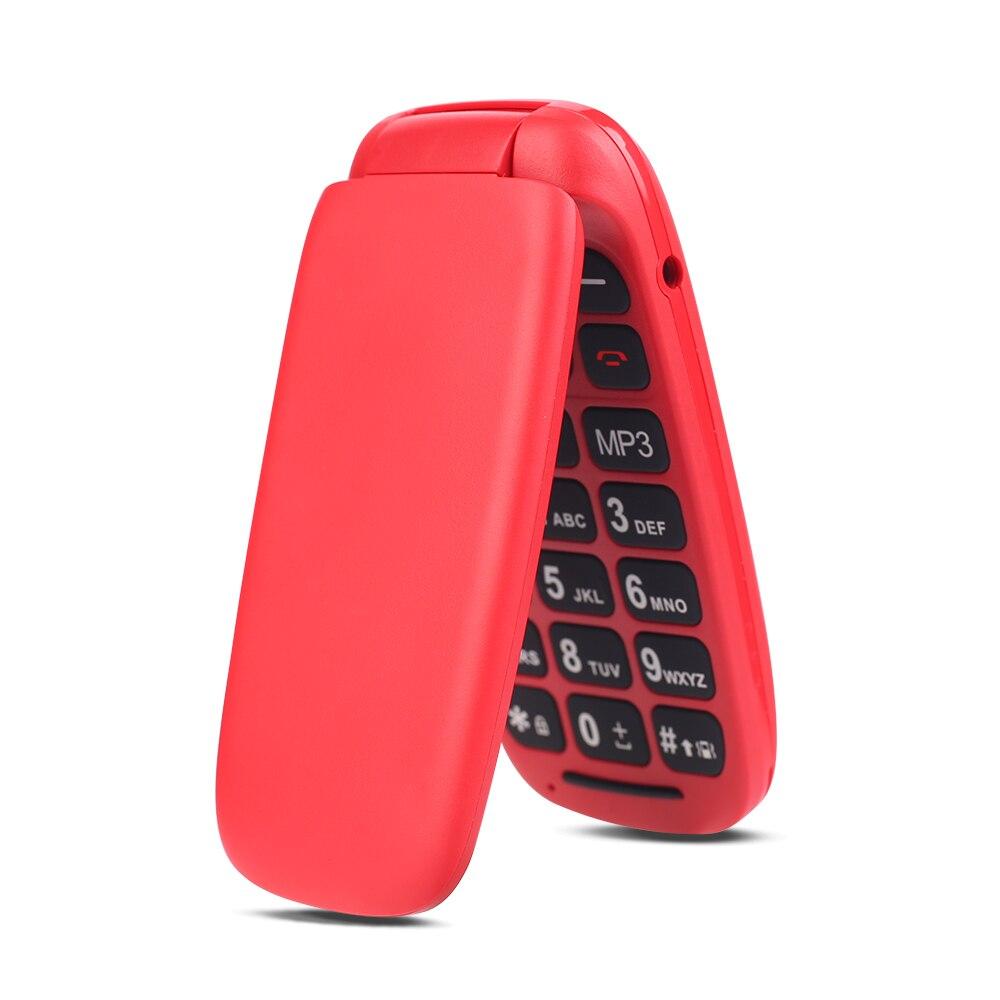 Ushining Free Mobile Phone Senior Mobile Phone Large Keys Flip 1.8 Inch Screen (Dual SIM, Camera, Bluetooth, MP3 Player) -Red