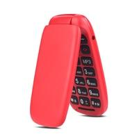 Ushining Free Mobile Phone Senior Mobile Phone Large Keys Flip 1.8 Inch Screen (Dual SIM Camera Bluetooth MP3 Player) -Red