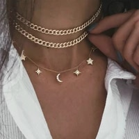 vintage multilayer crystal pendant necklace women star and moon choker chain hip hop stainless steel pendant charms jewelry