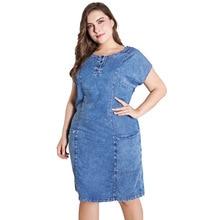2020 été dames grande taille denim robe pour femmes vêtements col rond poches élégant Larg robe de soirée robe de soirée