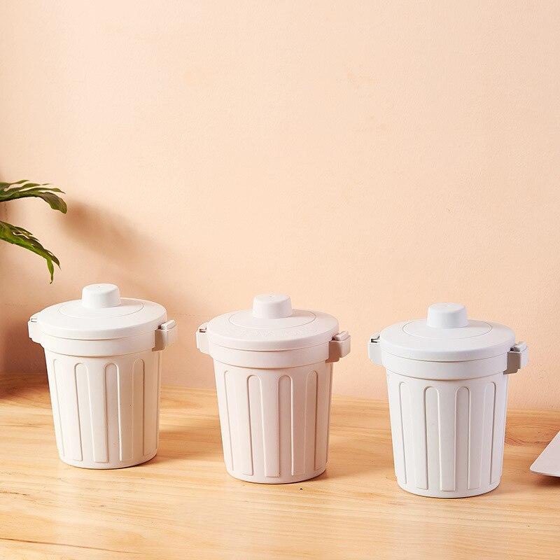 Cute Desktop Garbage Basket Mini Waste Bin Debris Storage Box Kitchen Office Debris Sorting Trash Bin Home Bedroom Storage Tools enlarge