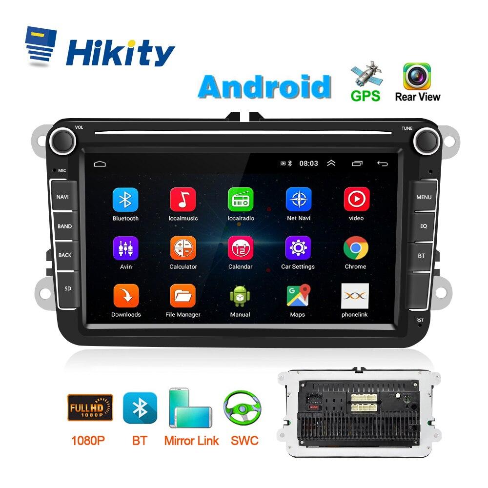 "Hikity-autoradio multimédia 8 "", GPS, FM, CANBUS, mirrorlink, lecteur MP5, Android 8.1, Bluetooth, WIFI, 2 Din, stéréo pour voiture"