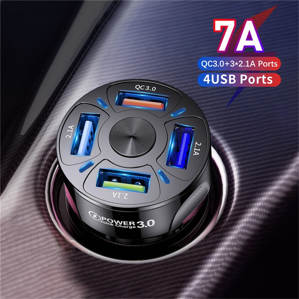 UKGO 48W 4 Ports USB Car Charge 7A Mini Fast Charging For iPhone 12 Xiaomi Huawei Mobile Phone Charg