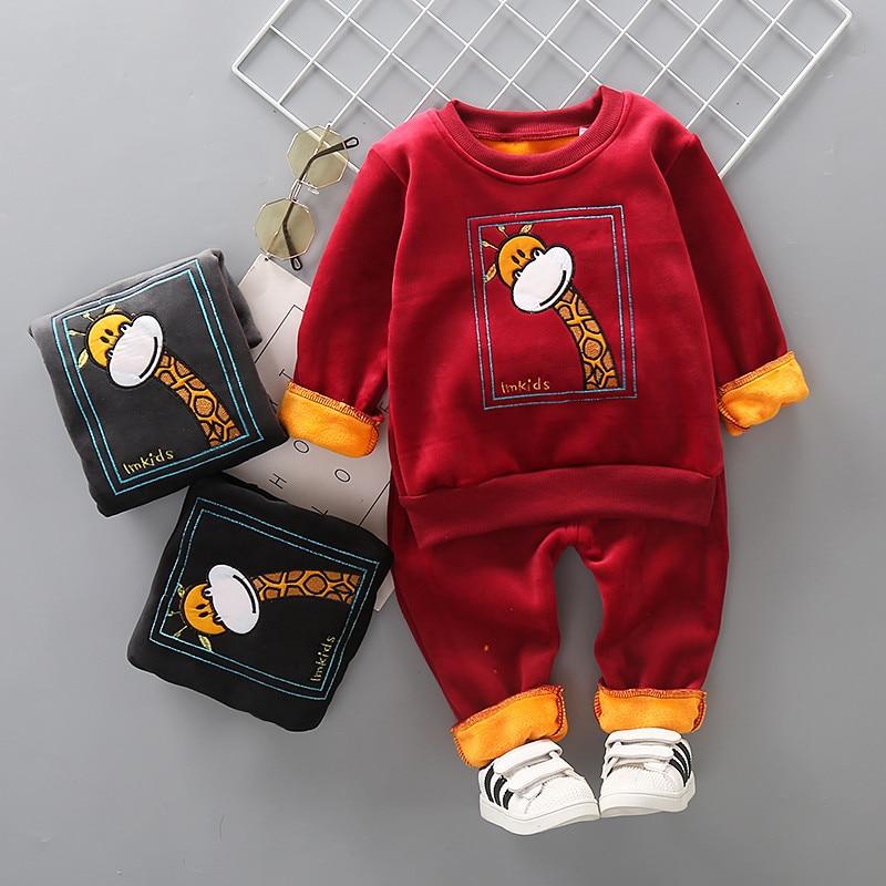 Зимняя детская одежда 2020, теплые комплекты одежды с героями мультфильмов для маленьких девочек, толстая футболка + штаны, 2 шт./компл., спорти...