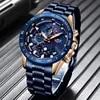 LIGE Business – montre-bracelet en acier inoxydable pour homme marque de luxe chronographe à Quartz militaire