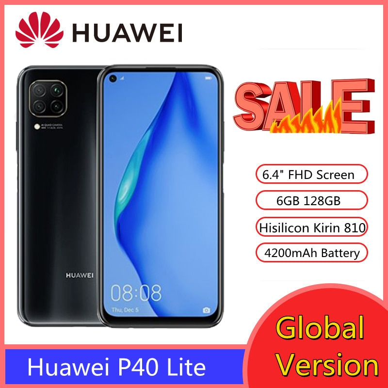 Перейти на Алиэкспресс и купить Huawei P40 Lite смартфон 6 ГБ 128 48MP 6,4 ''FHD экран Kirin 810 Octa Core телефон смартфоны PK xiaomi redmi note 9