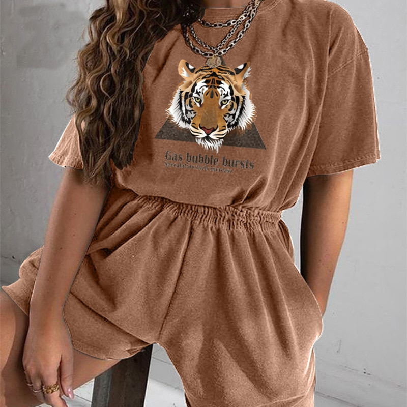 Tiger Graphic T Shirt Coffee Loose 2 Piece Set Women Fashion Casual Short Sleeve Tops Short Tracksuit Sets New Summer Streetwear