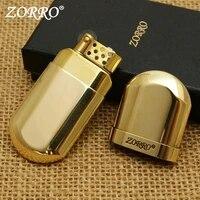 retro zorro brass grinding wheel metal lighter windproof pocket cigarette kerosene lighter gasoline trench smoking lighter gift