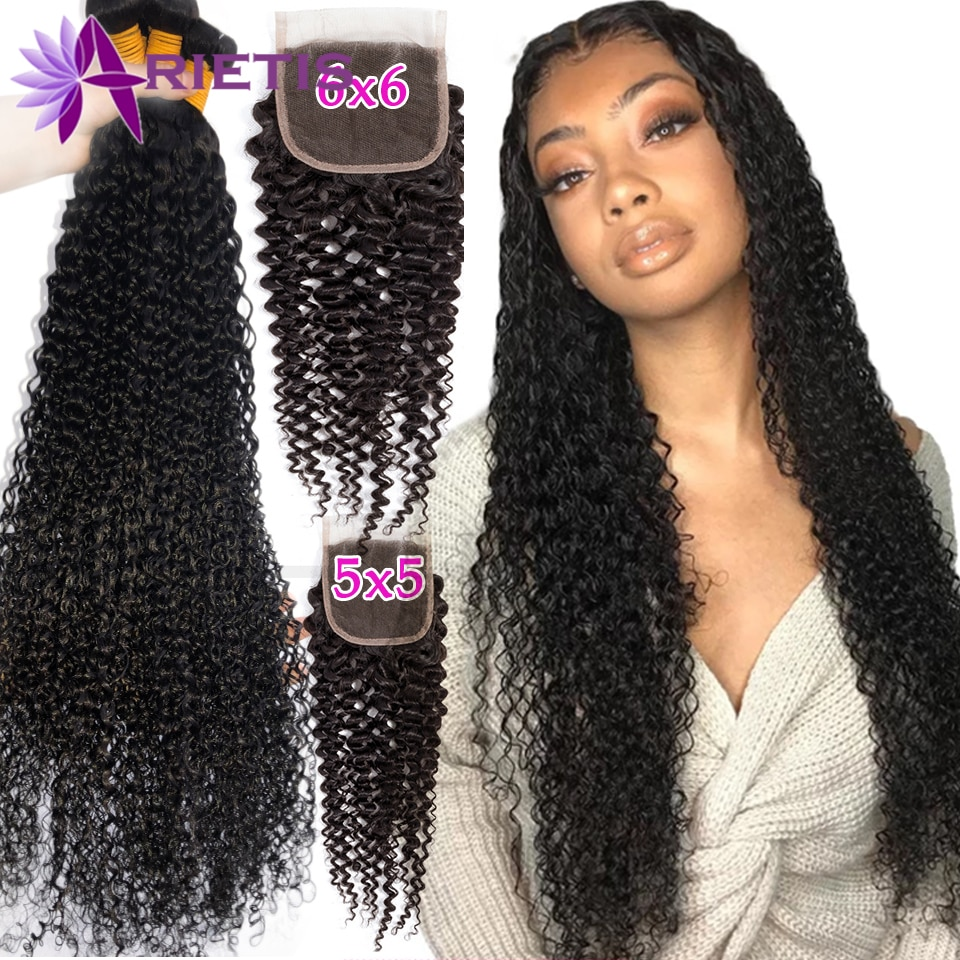 28 30 40 Inches Curly Bundles With Closure 5x5 6x6 HD Transparent Lace Frontal With Bundles Brazilian Hair Bundles Remy Hair