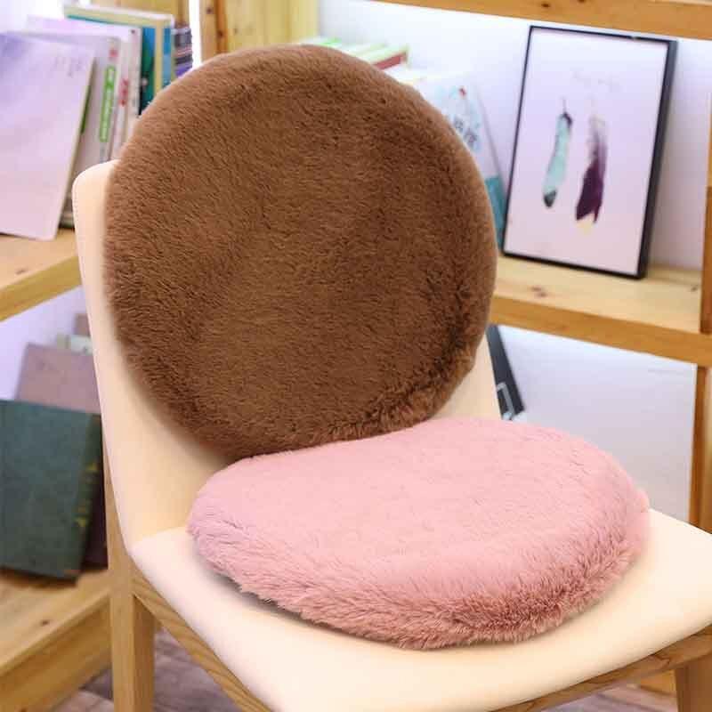 42x42cm tacto suave cojín redondo para silla conejo de alta calidad de felpa de tela cojín memoria algodón acolchado felpa almohadilla caliente se siente suave