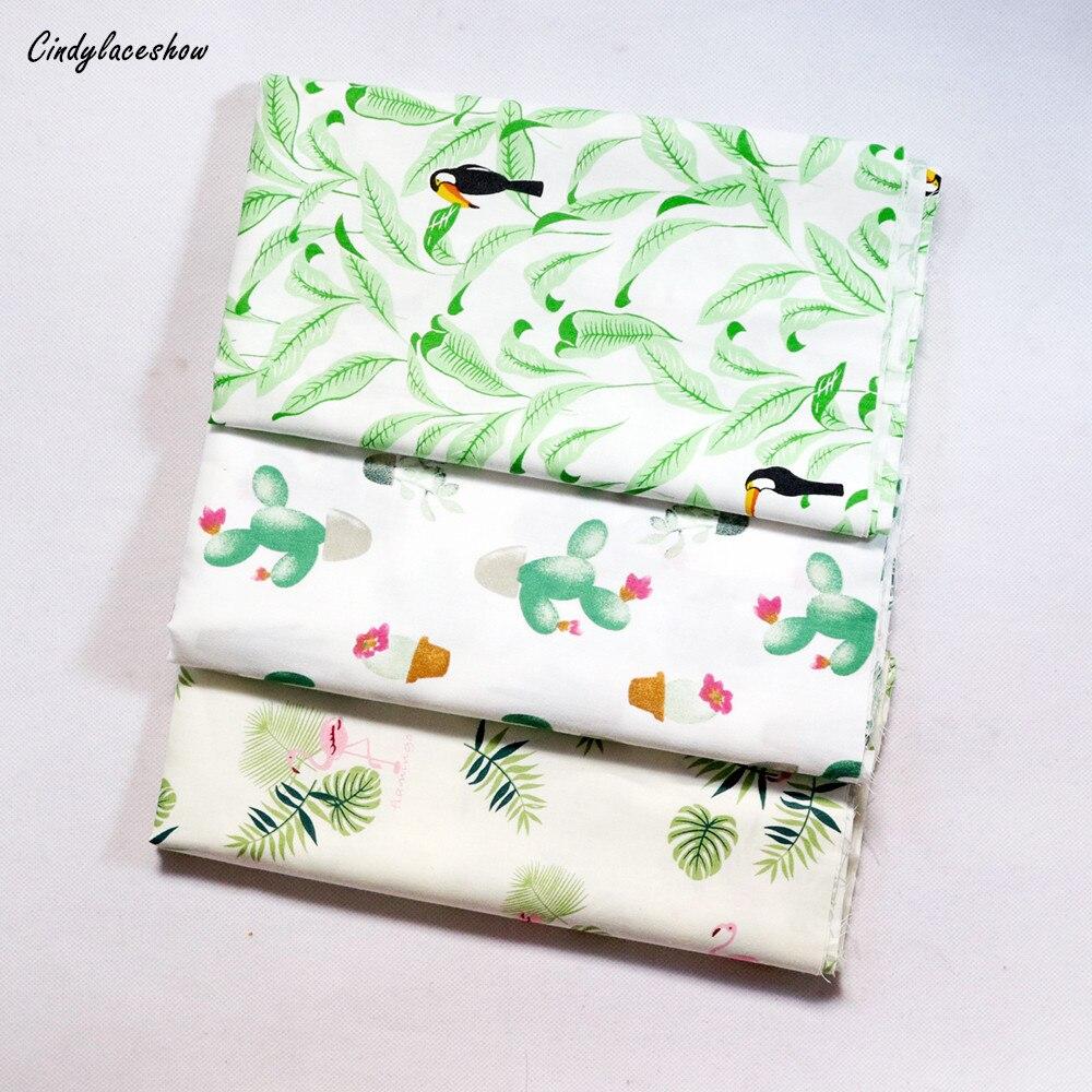 Verde cactus folhas flamingo impresso 100% metros de tecido algodão para vestidos almofadas cobertor costura pano cama folha têxtil diy