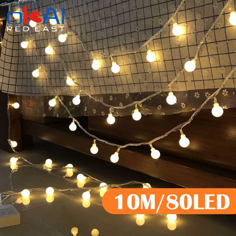 Светодиодная гирлянда с шариками, уличная лампа-лента с лампочками для украшения дома, свадьбы, сада, Рождества, 10 м