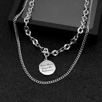 necklace 2021 %d1%82%d1%80%d0%b5%d0%bd%d0%b4stainless steel letter disc double layered clavicle chain men and women necklacekorean fashionbijuterias