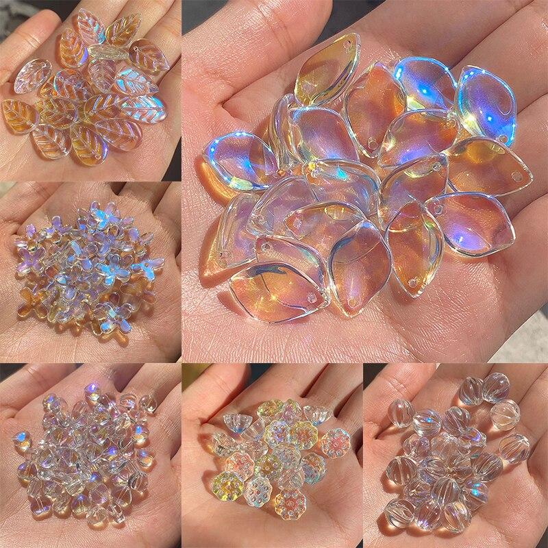 20 teile/paket Tschechische Kristall perlen kristall AB Farbe Glas Stern Herz Verlässt perlen für Schmuck machen Halsketten Ohrringe Beste qualität