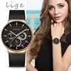 LIGE – montre à Quartz en acier inoxydable pour femmes nouvelle mode créative décontractée bracelet en maille design élégant luxe