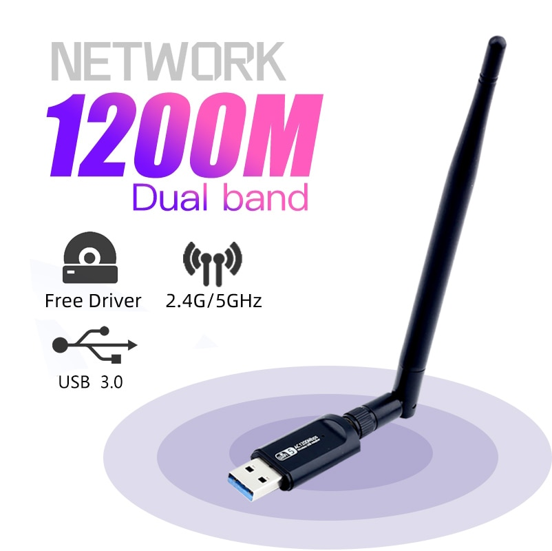 Adaptador USB de doble banda RTL8812BU de 1200Mbps, adaptador inalámbrico AC1200 Wlan...