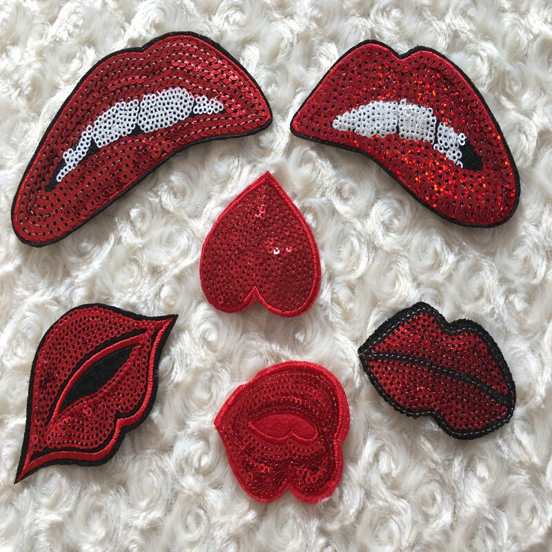 Embroidered Patches Lips Iron-on Sequined Decorative Accessories Make Dress DIY Handwork Quilting for Patchwork