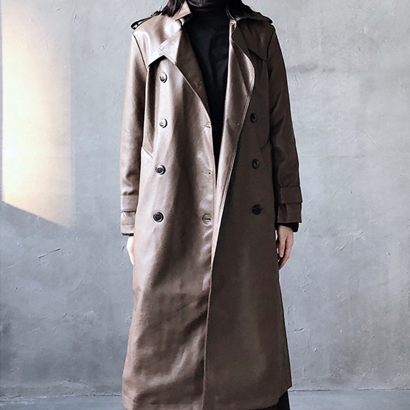 Hight Quality Autumn Long Leather Trench Coat For Women Belt Long Sleeve Skirted Faux Leather Coat Women Plus Size Fashion 2020 enlarge