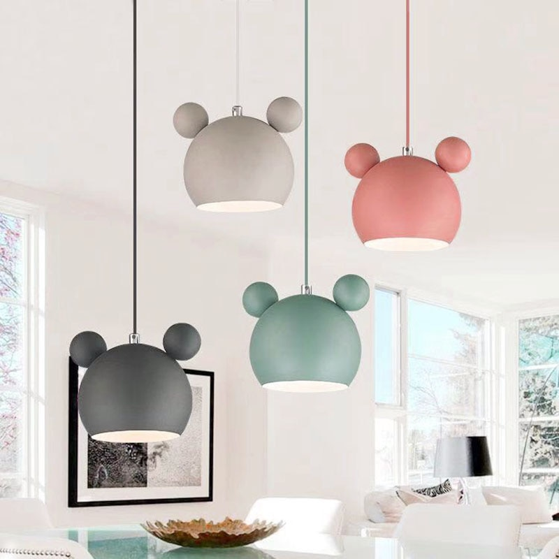 Creative Mickey chandelier wall lamp Nordic modern colorful macaron hanging lamp, childrens room restaurant decoration lampE27