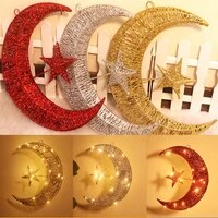 new christmas led lights star and moon curtain light x mas light indoor pentagram moon tree top star pendant for wedding party