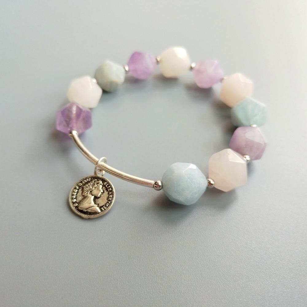 LiiJi, único, aguamarina auténtica, amatista, pulsera de Cuarzo Rosa, pulsera de plata de ley 925, joyería delicada para mujeres y niñas