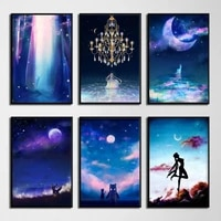 anime sailor moon poster print starry sky star space wall art canvas painting wall pictures living room decoration home decor