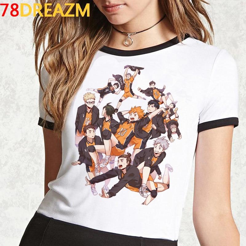 Oya oya oya haikyuu t camisa das mulheres do verão topos kuroo anime tshirt karasuno japonês dos desenhos animados voar alta camisa gráfica unisex