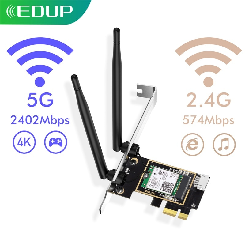 EDUP-محول شبكة wi-fi 6 ، 3000 ميجابت في الثانية ، للكمبيوتر الشخصي ، مع Bluetooth 5.1 ، PCI-E ، بطاقة wi-fi لاسلكية مزدوجة النطاق 2.4/5 جيجاهرتز ، Win10