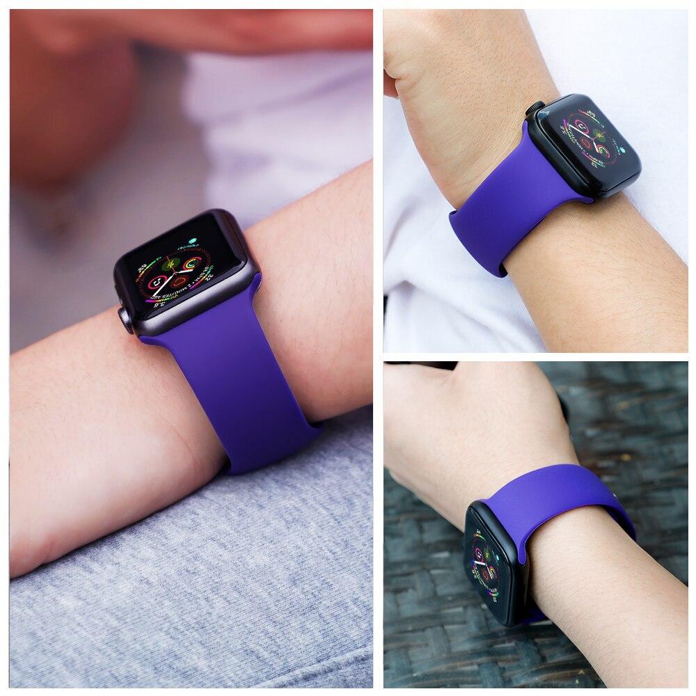 Silikon Strap Für Apple Uhr 5 band 44mm iWatch bands 42mm 38mm 40mm correa armband Sport gürtel armband serie 6 4 3 2 42 MM