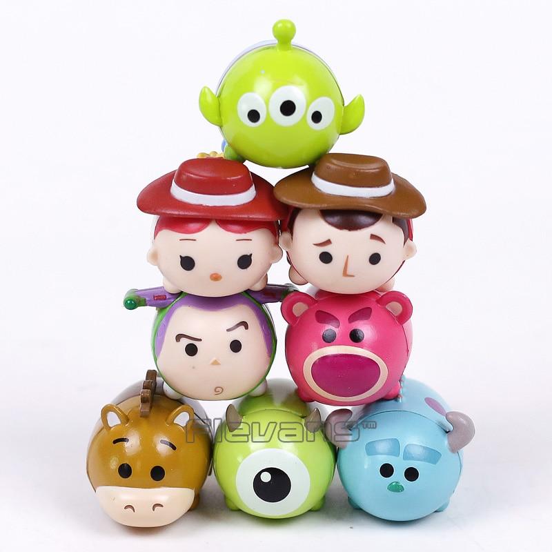 Tsum TsumToy historia Woody Buzz Lightyear Jessie monstruos Inc. Mike Sullivan Mini figuras de PVC de juguete regalo 8 unids/set