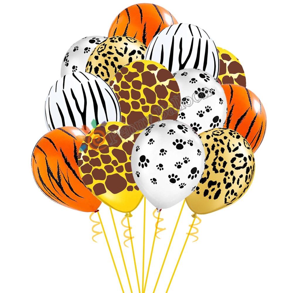 12 Uds. Globos de animales de dibujos animados de 12 pulgadas Tigre cebra jirafa mascotas globo de rayas selva Safari suministros para fiestas temáticas T