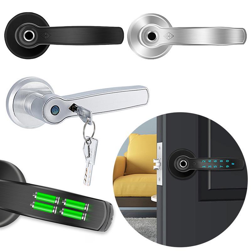 الكهربائية الذكية نظام قفل الباب ببصمة الإصبع قفل الرقمية AI صوت الأمر واي فاي التطبيق بصمة بلوتوث قفل أمان للأبواب