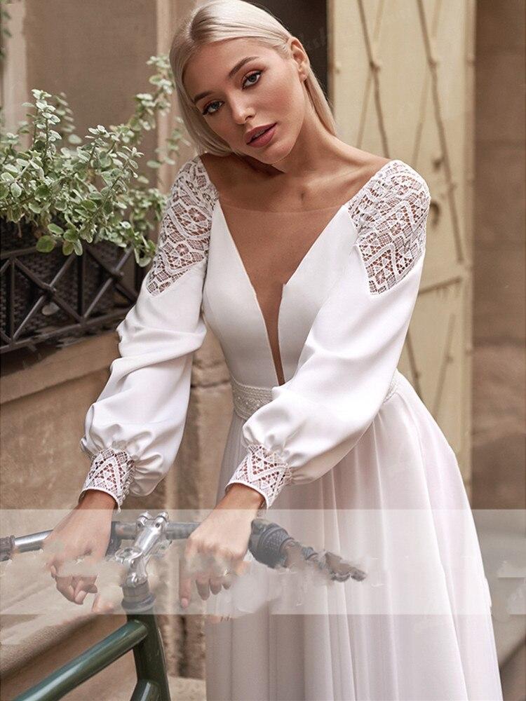 Bohemia Wedding Dress 2021 Full Sleeves V-Neck Chiffon Pearls Lace Appliques Sweep Train For Elegant Women New Arrive A-Line