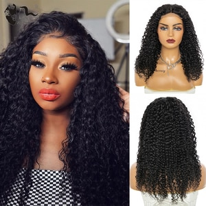 XISHIXIU Lace Part Wig Wigs Long Pre-Colored Blend Wigs Jerry Water Wigs Natural Style 18Inch For Women Cheap Soft Remy Wigs