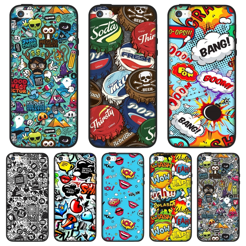 Caja del teléfono para el iPhone 5 S 5C 5S SE suave Anime pegatina de bomba con grafiti de moda lindo pintado cubierta para iPhone 4 4 S 4S funda de silicona