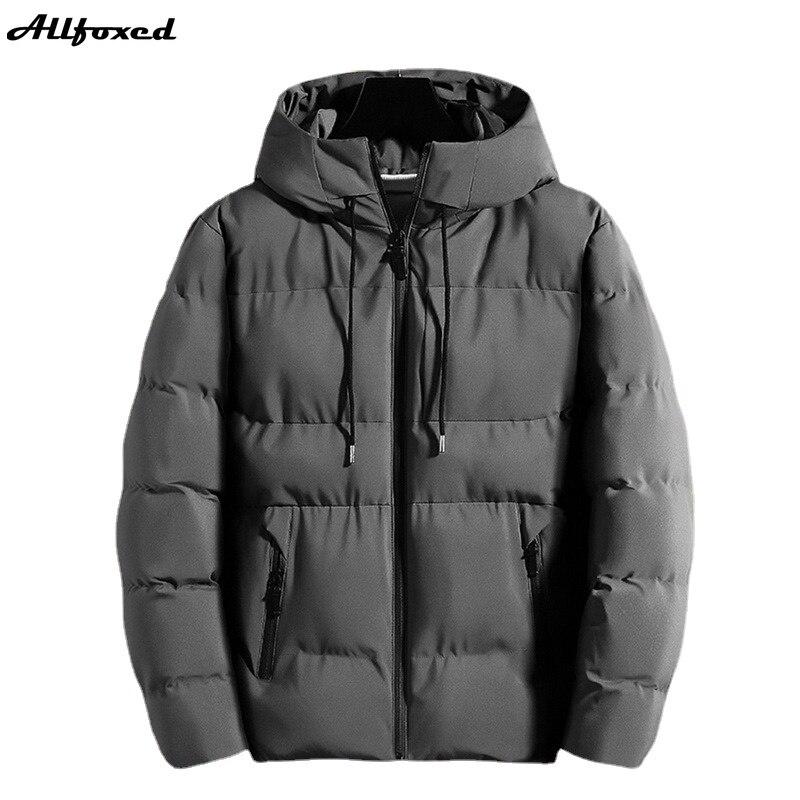 Новинка 2021, зимние парки Allfoxed, куртка с хлопковой подкладкой, Мужские осенне-зимние куртки, повседневные толстые парки с капюшоном