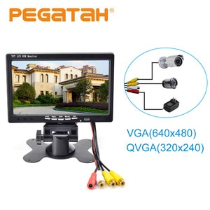 New 7-inch TFT LCD DVR Monitor Screen Car Rear View Camera Monitor 2 Channels Video Motion detection video  Playback  Display