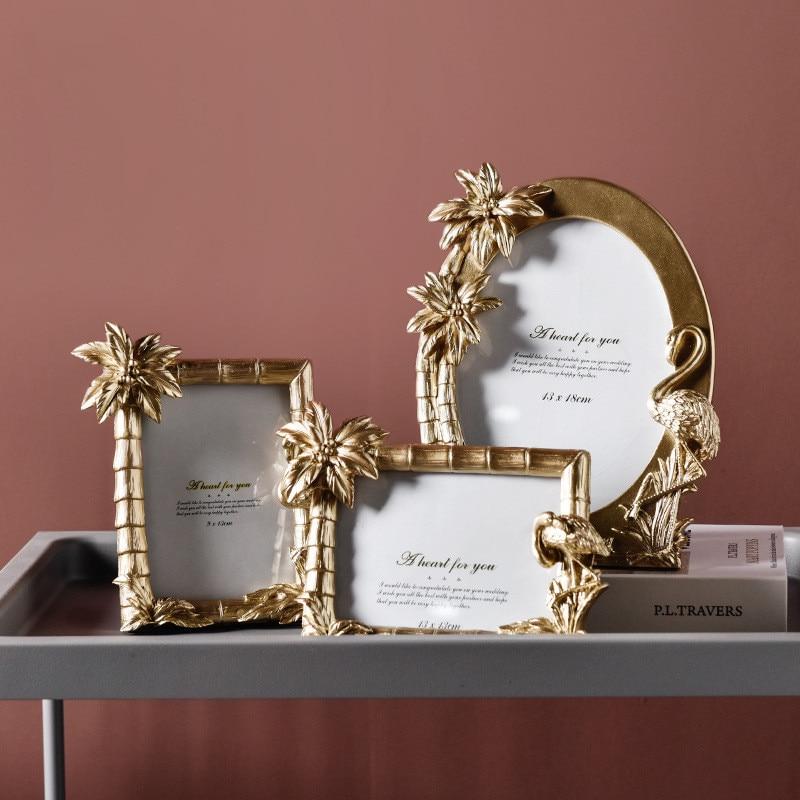 Gold Flamingo Palm Tree Oval Square Photo Frames Set Bedroom Living Room Home Office Desktop Decoration Photo Frame Accessories
