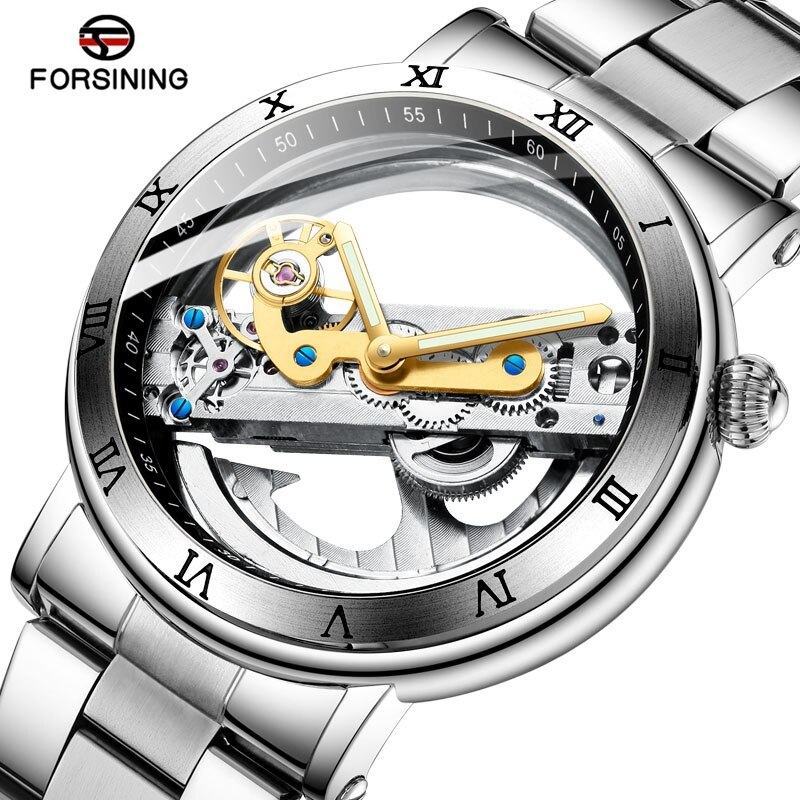 Reloj de pulsera de lujo para hombre, Tourbillion transparente de doble cara, reloj mecánico de acero Steampunk, reloj de pulsera automático creativo