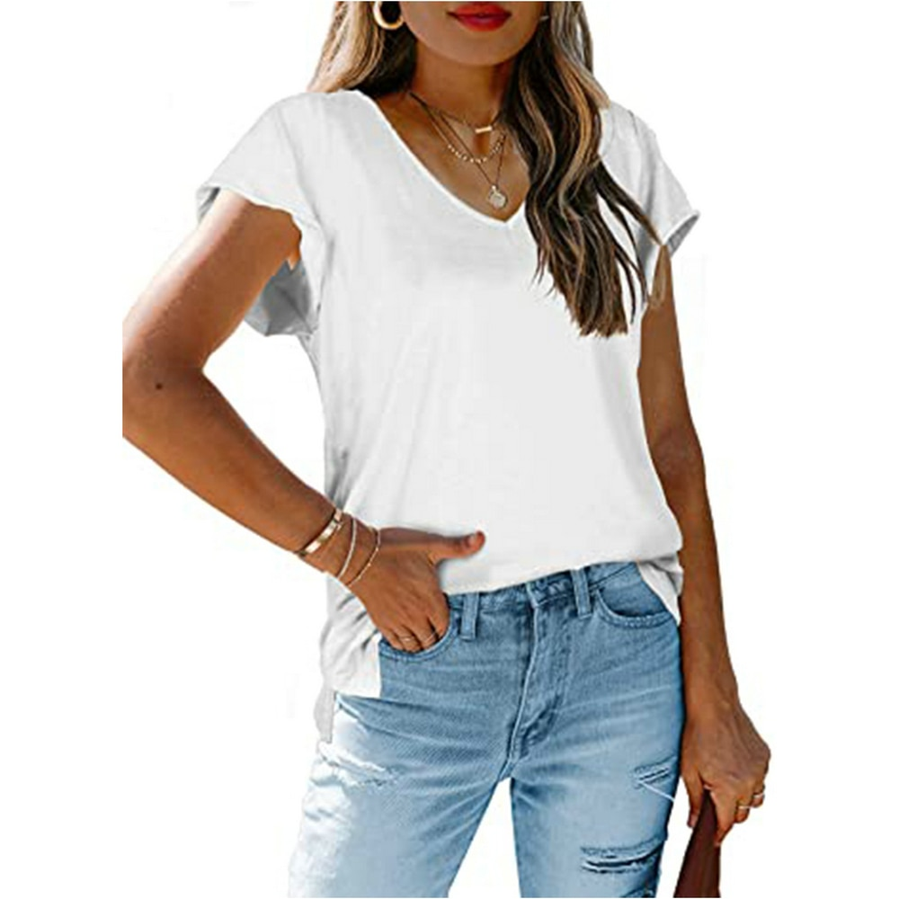 Fashion V Neck Solid Color Women Tshirt Casual Split Hem Short Sleeve Fashion Street Top 2021 New Summer Basic Female Tops Tee  - buy with discount