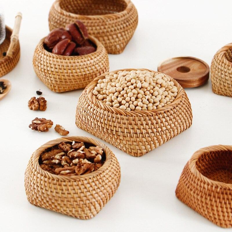 Bandeja de frutas secas de mimbre de Otoño de Vietnam, caja de té de paja para el hogar, cajas de almacenamiento para Snack, cesta de aperitivos de mesa
