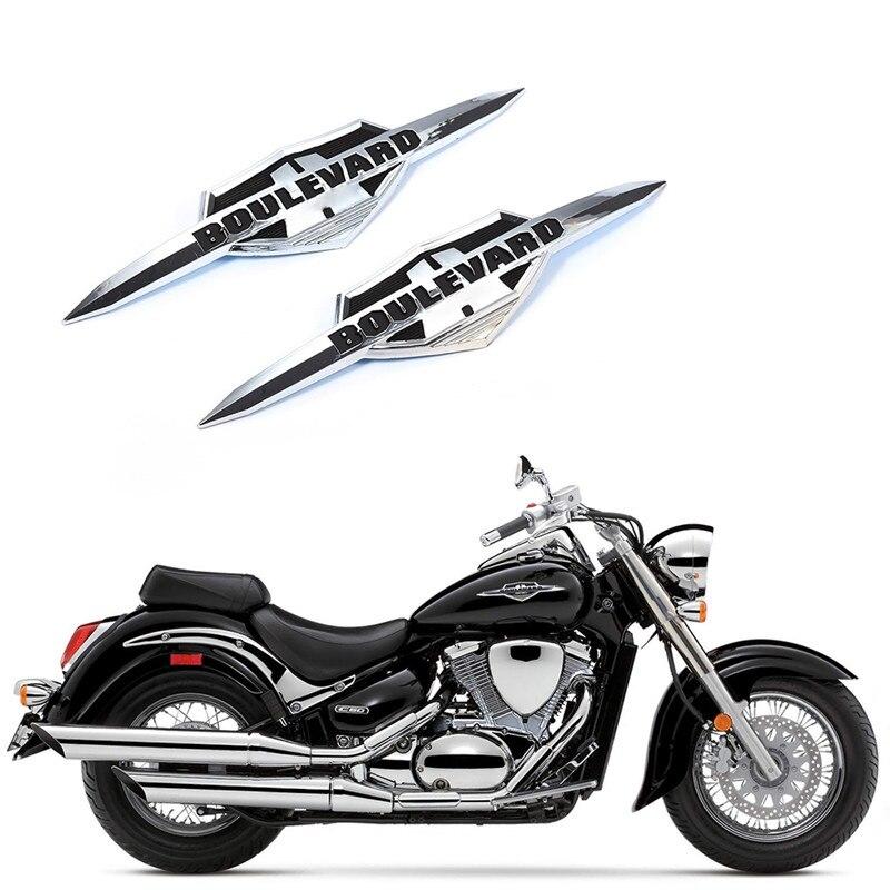 2 uds. Pegatina para motocicleta 3D estereoscópica, insignia de tanque de gasolina y combustible, pegatina emblema para Suzuki Boulevard, accesorios impermeables para motocicleta